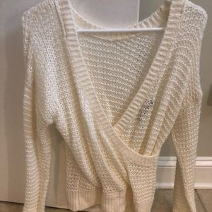 Knit droopy neck sweater